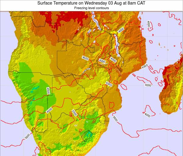 Mozambique Surface Temperature on Friday 24 May at 2am CAT map