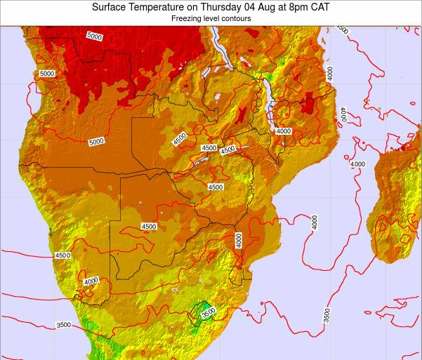 Mozambique Surface Temperature on Saturday 25 May at 2pm CAT map