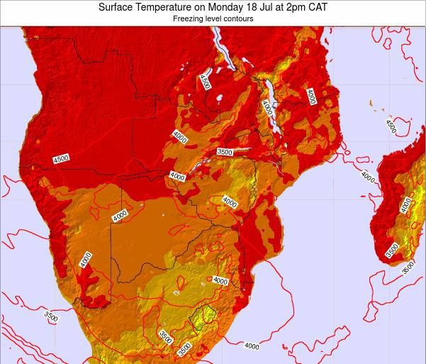 Namibia Surface Temperature on Saturday 22 Jun at 8pm CAT map