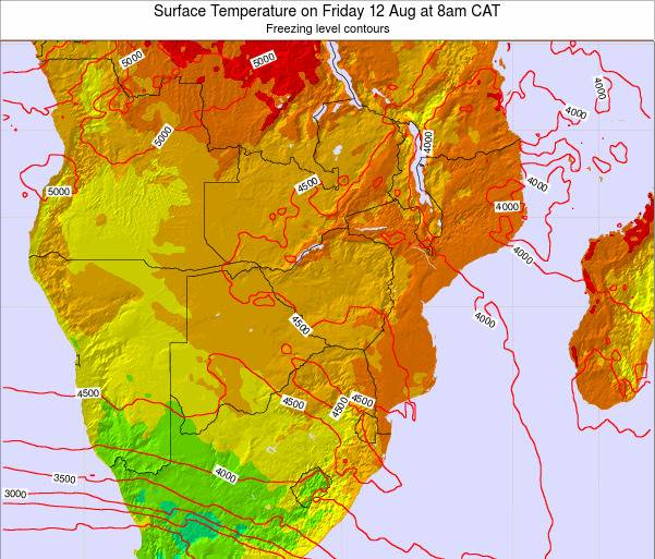 Zimbabwe Surface Temperature on Wednesday 29 May at 2pm CAT map