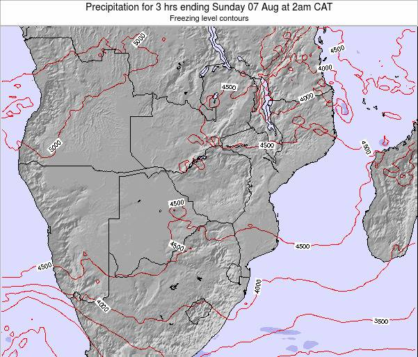 Malawi Precipitation for 3 hrs ending Tuesday 25 Jun at 2am CAT map