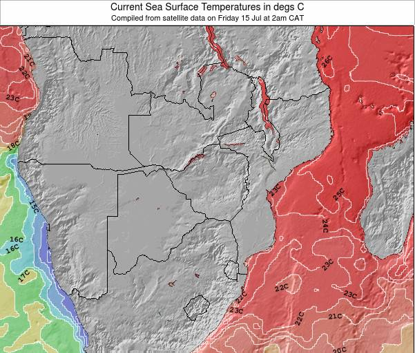 Namíbia Temperaturas da Superfície do Oceano Mapa