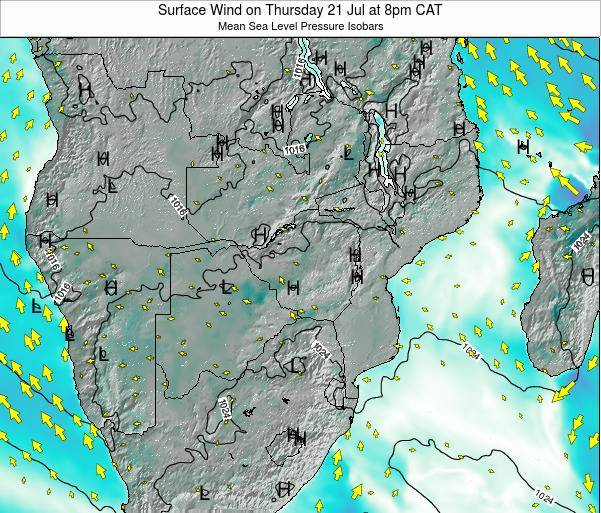 Namibia Surface Wind on Sunday 22 Apr at 8pm CAT map