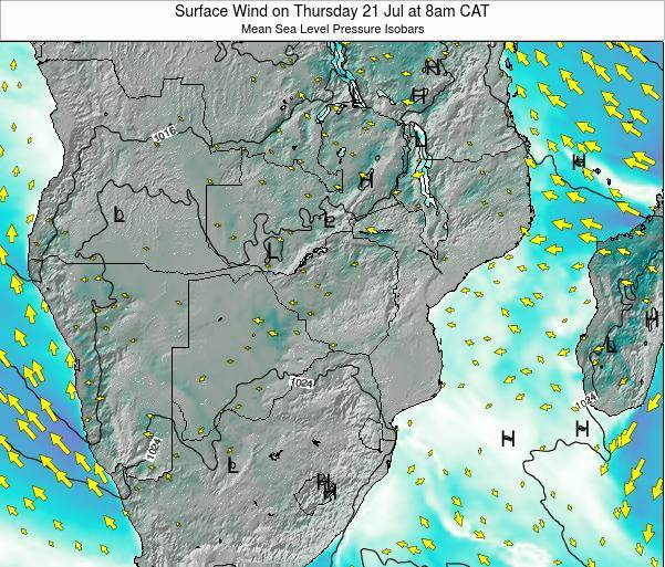 Mozambique Surface Wind on Friday 24 May at 2am CAT